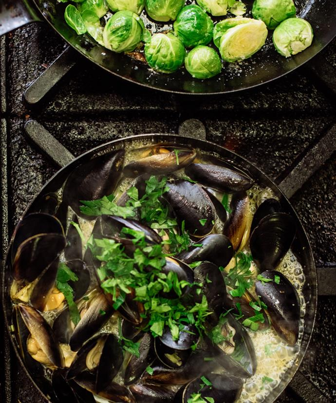 Brussels sprouts and Kinkawooka mussels.