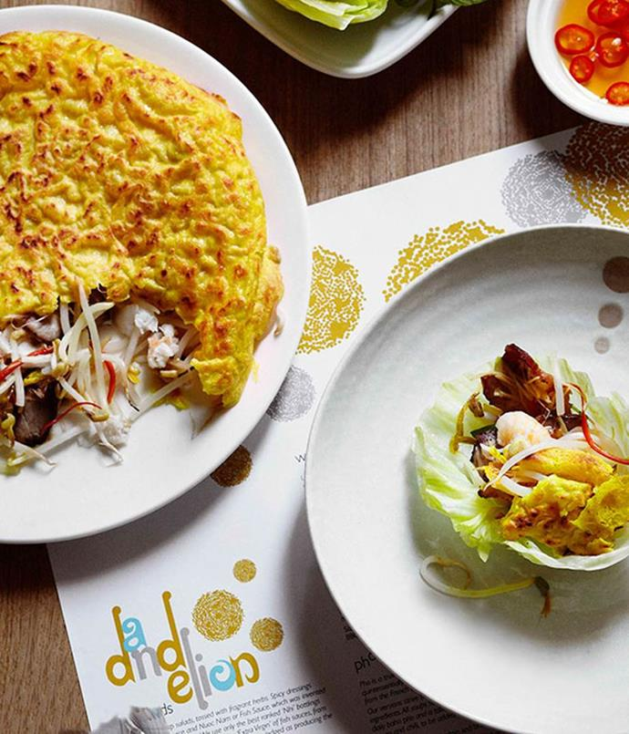 """[Sizzling coconut pancakes with spanner crab and barbecue pork](https://www.gourmettraveller.com.au/recipes/chefs-recipes/dandelion-sizzling-coconut-pancakes-with-spanner-crab-and-barbecue-pork-7677