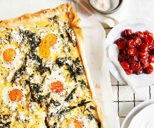 "[**Egg, spinach, rocket and feta breakfast tart**](https://www.gourmettraveller.com.au/recipes/browse-all/egg-spinach-rocket-and-feta-breakfast-tart-10744|target=""_blank"")"