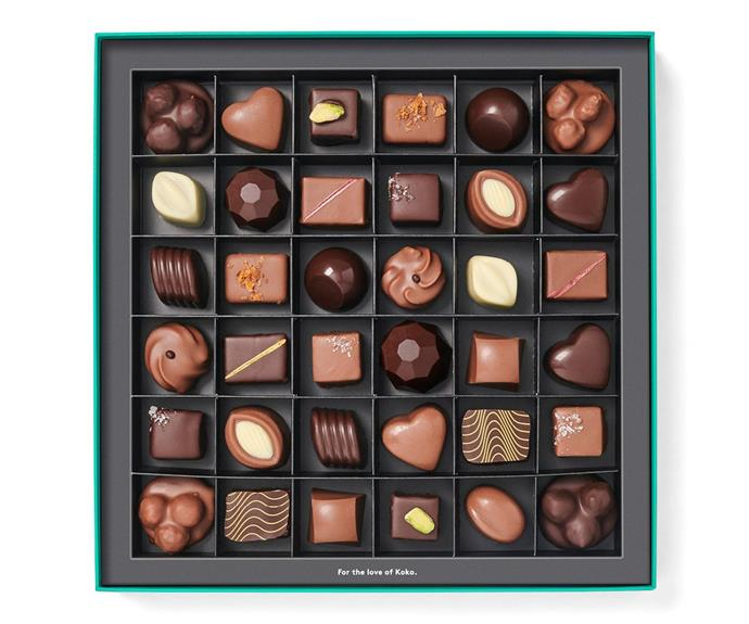 "**Koko Black Chocolatier's Selection Praline Gift Box, 36 pieces, $79.90, [kokoblack.com](https://fave.co/2YUfOct|target=""_blank""