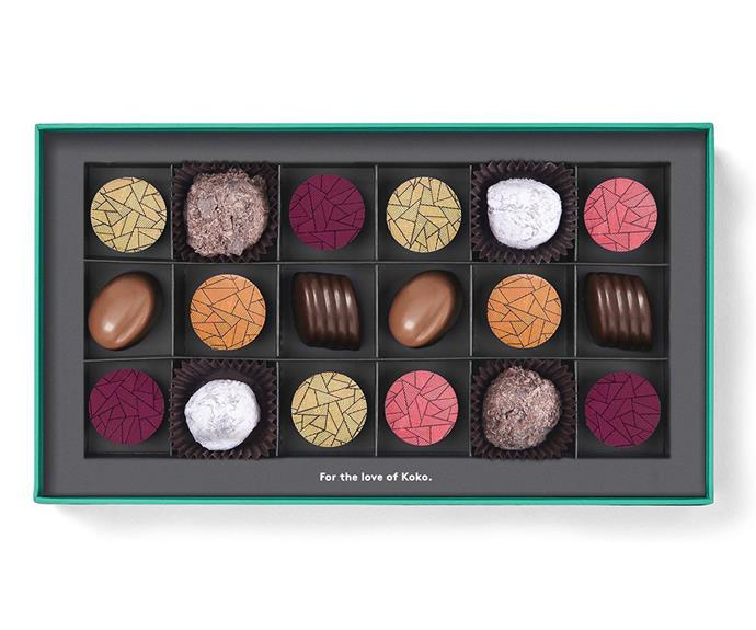 "**Koko Black The Liqueur & Spirits Collection Praline Gift Box, 18 pieces, $44.90, [kokoblack.com](https://fave.co/3rtDTmI|target=""_blank""