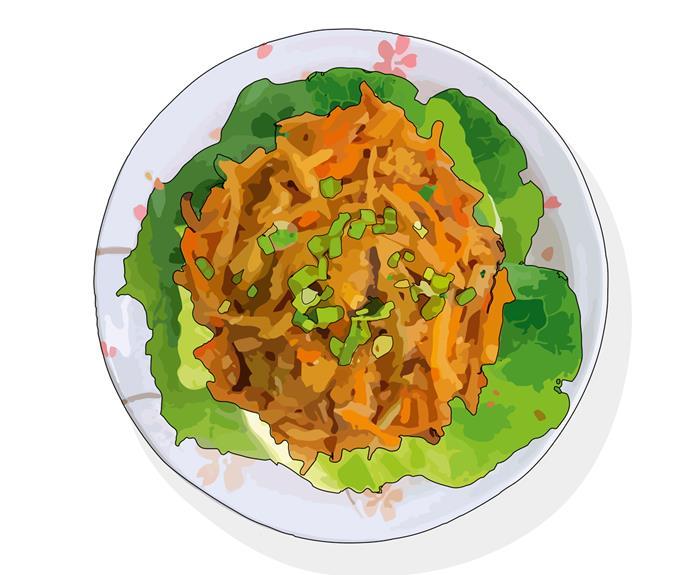 Jiu hu char, a dish of stir-fried cuttlefish and jicama.