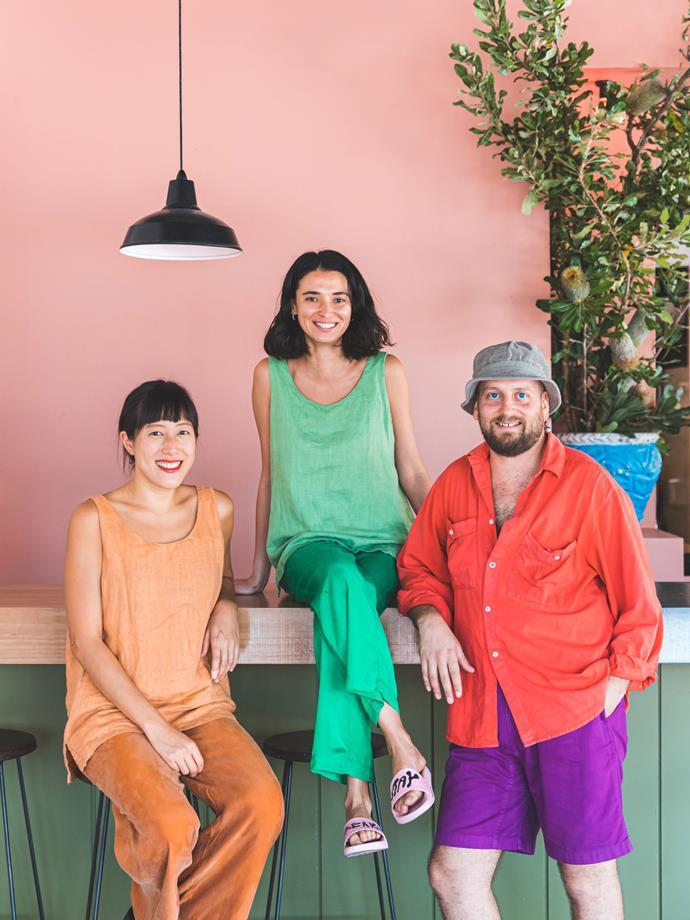 Cafe Freda's head chef Xinyi Lim, creative director Carla Uriarte and owner David Abram.