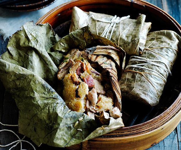 "**[Sticky rice lotus dumplings with roast chilli vinegar](http://www.gourmettraveller.com.au/recipes/browse-all/sticky-rice-lotus-dumplings-with-roast-chilli-vinegar-12015|target=""_blank"")**"