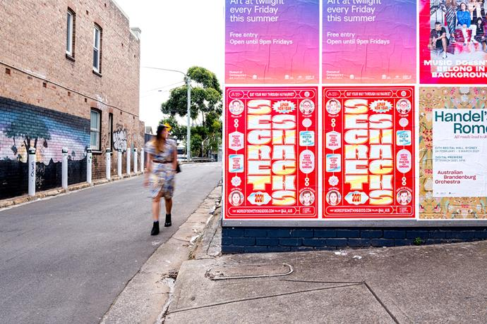 A poster promoting the *Secret Snacks* campaign in Newtown, Sydney.