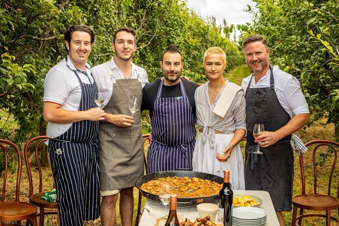The Orange festival's hero young gun chefs (L-R) Chris Tudor, Dom Aboud, Ruben Lopez, Lily Hahn-Stevens and Richard Learmonth.