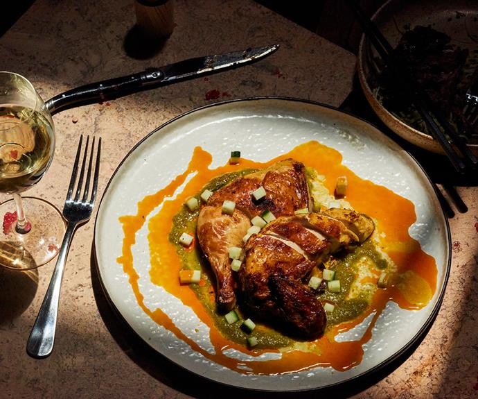 New Quarter's roasted chicken with green nahm jim and annatto oil.