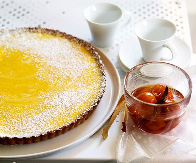 """**[Gin and lime tart with confit cumquats](https://www.gourmettraveller.com.au/recipes/chefs-recipes/gin-and-lime-tart-with-confit-cumquats-7228 target=""""_blank"""")**"""