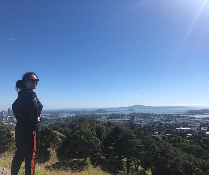 House enjoying the view of Rangitoto from Maunga Whau.
