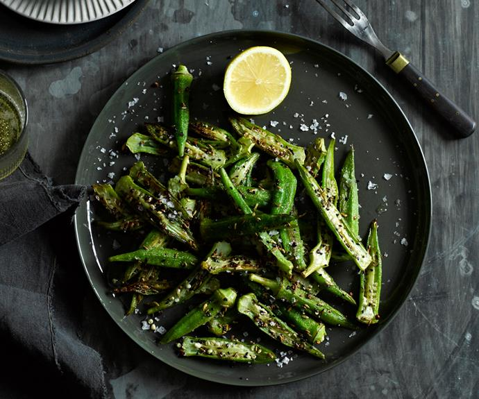 "**[Okra with panch phora and lemon](http://www.gourmettraveller.com.au/recipes/fast-recipes/okra-with-panch-phora-and-lemon-13366|target=""_blank"")**"