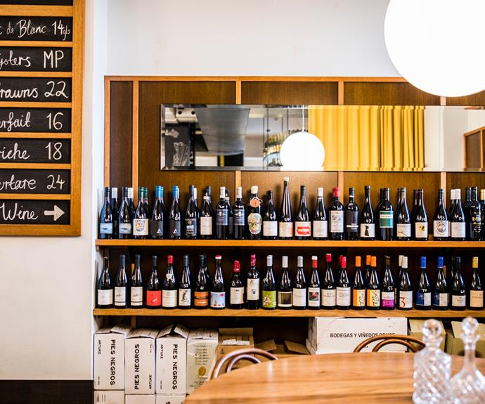 The well-stocked wine bar.