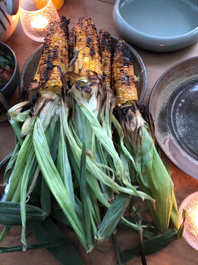 Charred corn, plated up and ready for consumption.