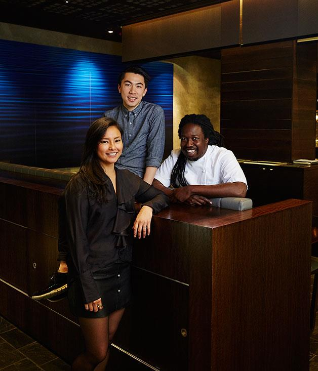 Manager Kylie Javier Ashton, then-sommelier Ambrose Chiang, and executive chef Paul Carmichael in 2016.
