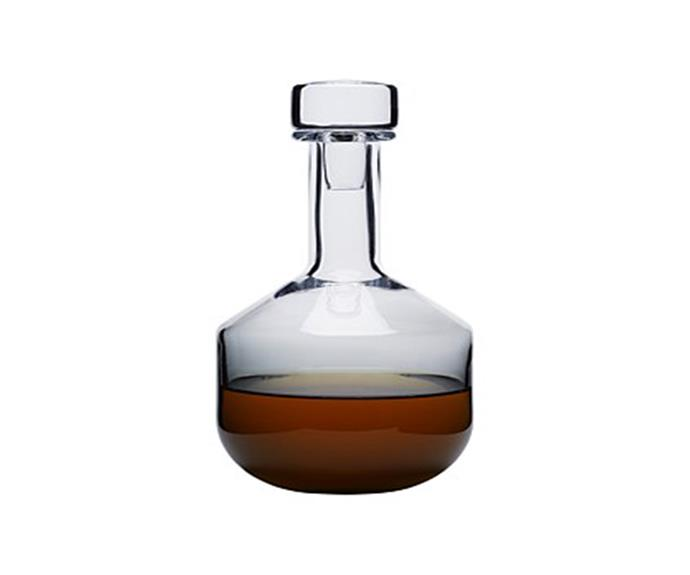"**Tank whisky decanter in Black, $205, Tom Dixon, available from [Top3 by Design](https://top3.com.au/categories/bar-and-wine-and-water/glassware/tom-dixon-tank-series/tkwd01b|target=""_blank""