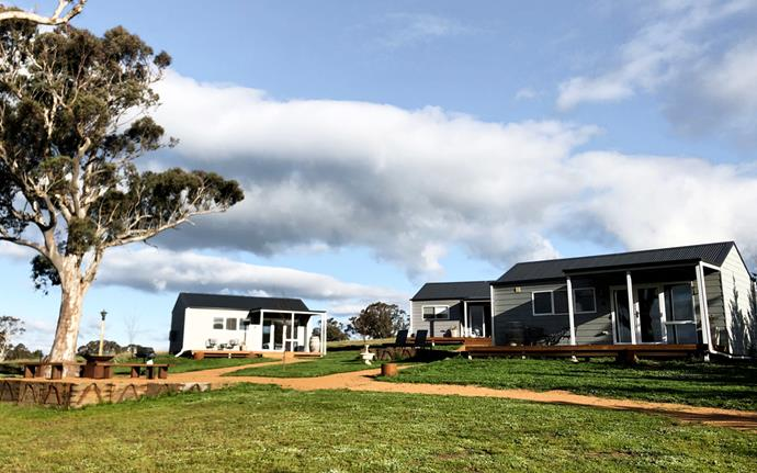The contemporary cottages at Tallagandra Hill Winery.