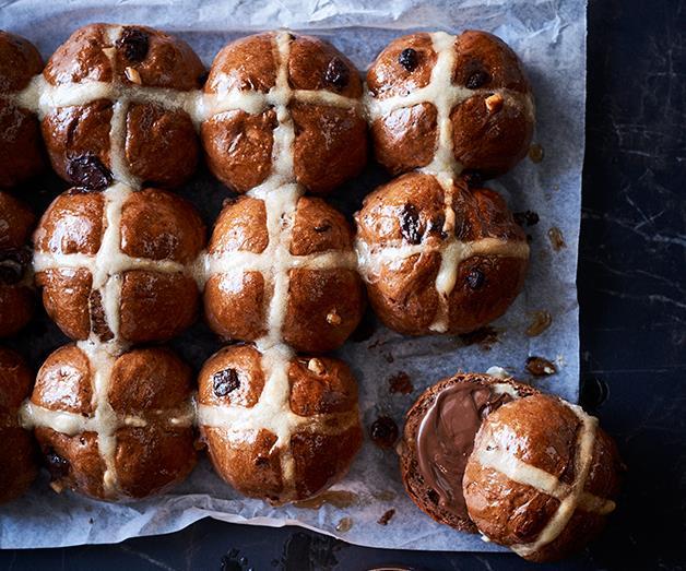 "[**Choc-cross buns**](https://www.gourmettraveller.com.au/recipes/browse-all/choc-cross-buns-12730 target=""_blank"")"