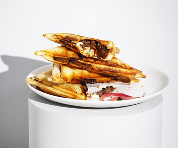 Braised beef and feta jaffles with pickled onion