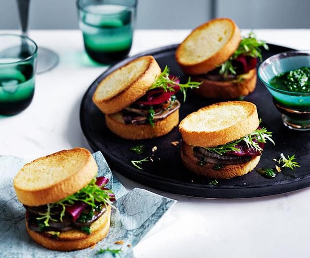 """**[Grilled tongue sandwiches with charred onion and pickled beetroot](https://www.gourmettraveller.com.au/recipes/browse-all/grilled-tongue-sandwiches-with-charred-onion-and-pickled-beetroot-12601