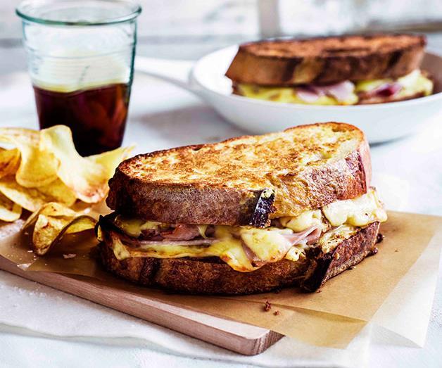 "**[Monte Cristo sandwiches with potato crisps](https://www.gourmettraveller.com.au/recipes/browse-all/monte-cristo-sandwiches-with-potato-crisps-11329|target=""_blank"")**"