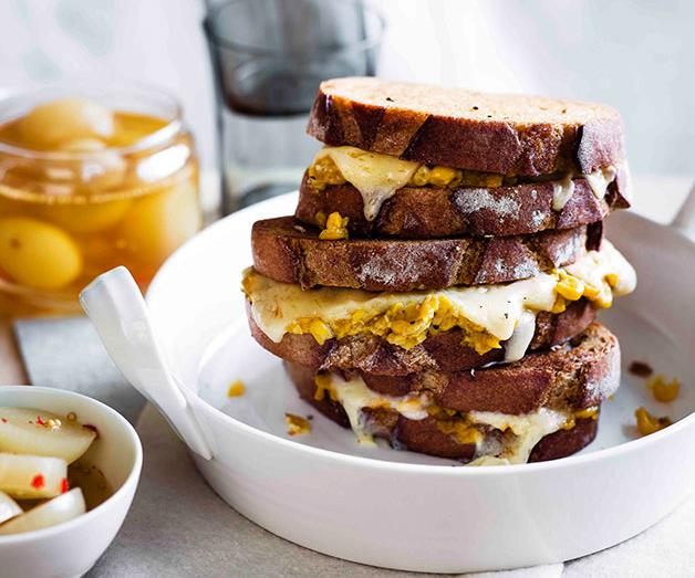 """**[Creamed corn and cheddar toasties with pickled onions](https://www.gourmettraveller.com.au/recipes/browse-all/creamed-corn-and-cheddar-toasties-with-pickled-onions-11300