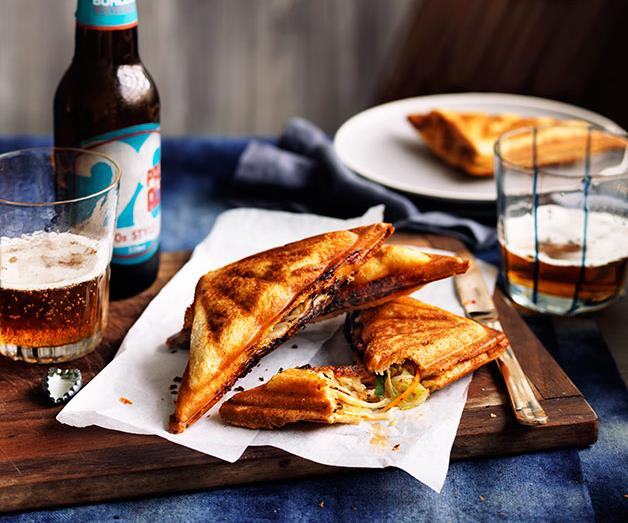 """**[Kimchi and cheese jaffles](https://www.gourmettraveller.com.au/recipes/chefs-recipes/kimchi-and-cheese-jaffles-9230