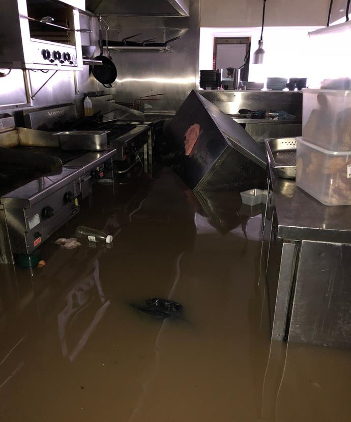 At Whalebone Wharf Seafood Restaurant, the floodwater was about a metre high.