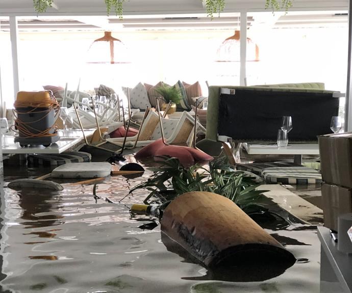 The flooded dining room at Whalebone Wharf Seafood Restaurant.
