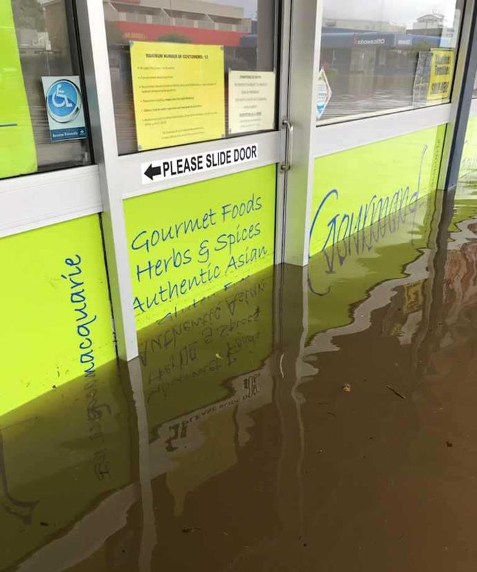 The entrance to Gourmand Ingredients after the floods.