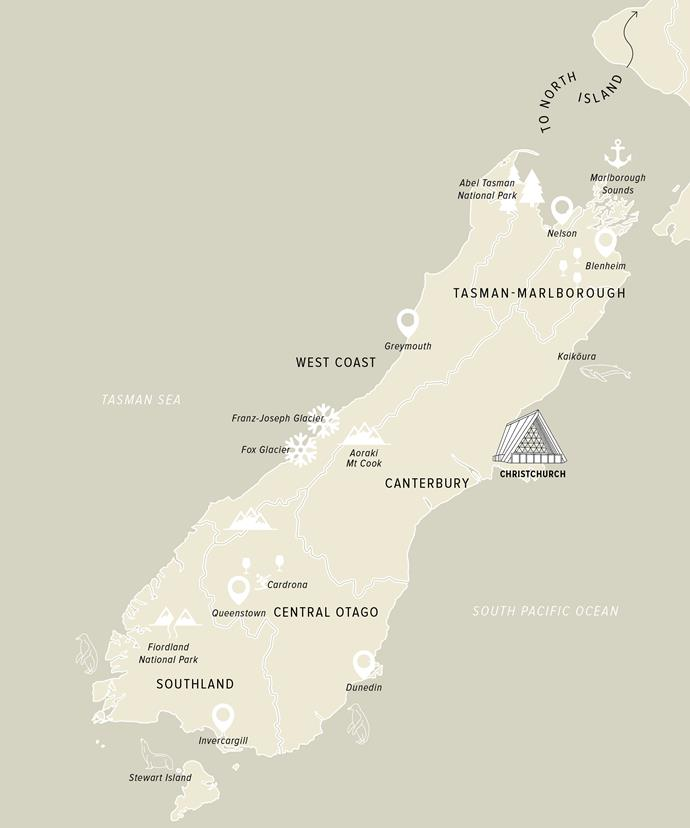 A map of Te Waipounamu, New Zealand's South Island.