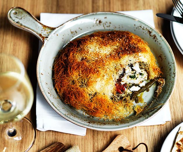 """[**Snapper, slow-braised beans, fennel and kataifi pies**](https://www.gourmettraveller.com.au/recipes/chefs-recipes/snapper-slow-braised-beans-fennel-and-kataifi-pies-7916 target=""""_blank"""")"""