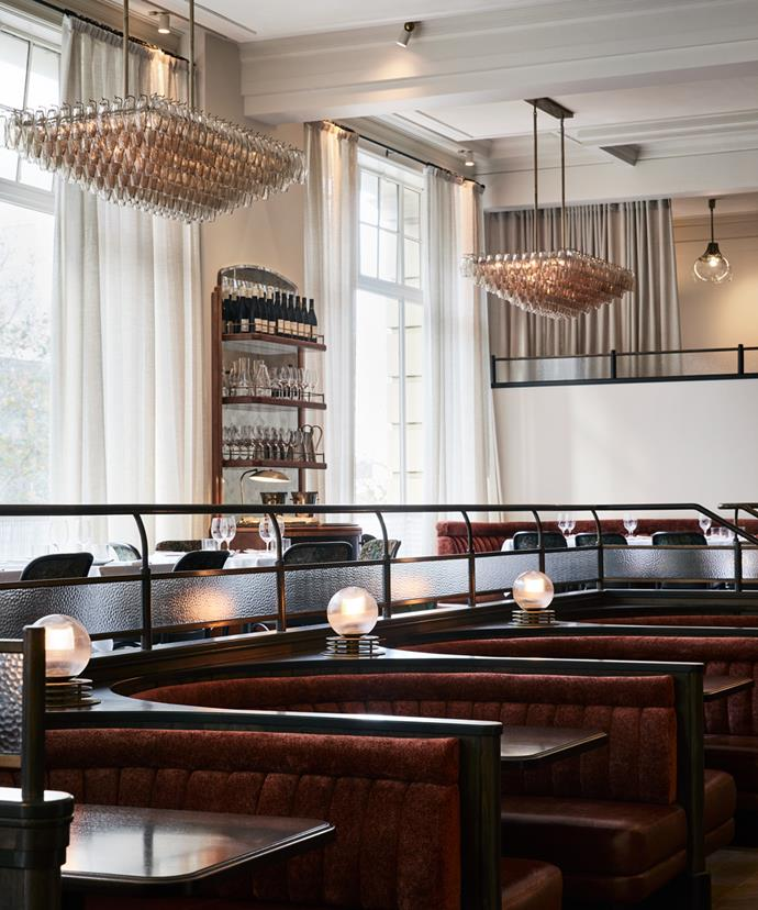 The horseshoe-shaped booths at Gimlet.