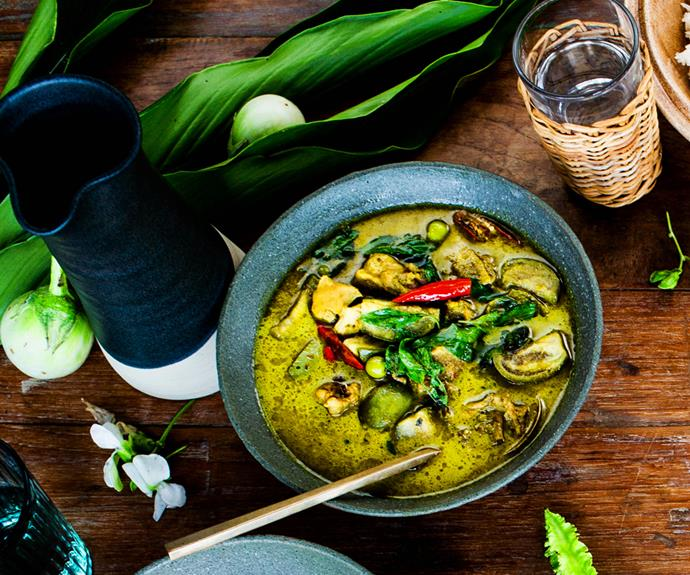 "**[Palisa Anderson's green curry of chicken (gaeng keow wan gai)](https://www.gourmettraveller.com.au/recipes/chefs-recipes/thai-green-curry-with-chicken-16825|target=""_blank"")**"