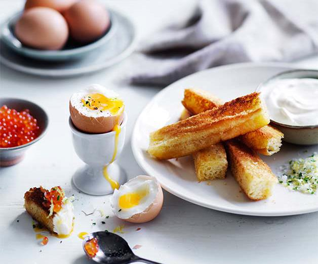 """**[Double eggs and brioche soldiers](https://www.gourmettraveller.com.au/recipes/browse-all/double-eggs-and-soldiers-12809