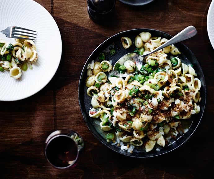 Orecchiette with broccolini, anchovy, garlic, chilli and Asiago