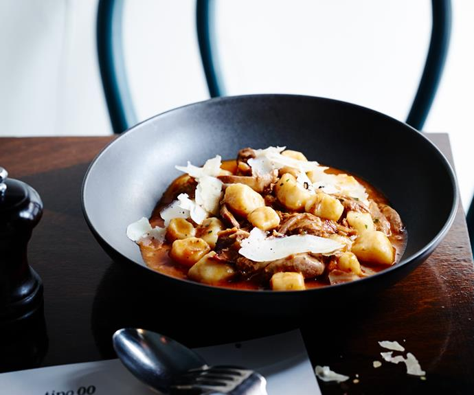 Gnocchi with duck ragù and porcini mushrooms
