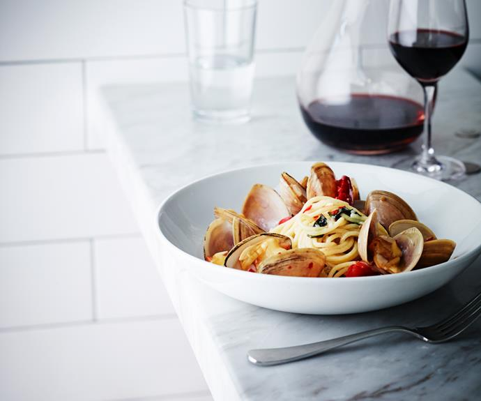 Spaghetti with strawberry clams, chilli and smoked tomato