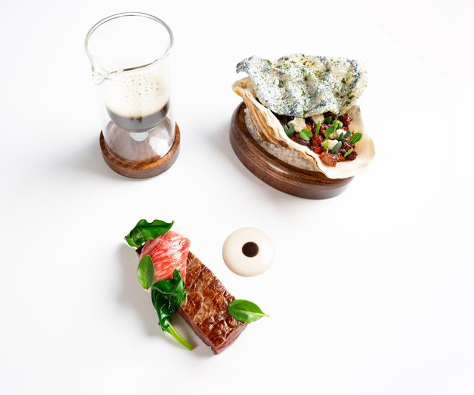 """The """"beef and oyster"""" with Highland wagyu beef and Porthily oysters, as served at Core."""