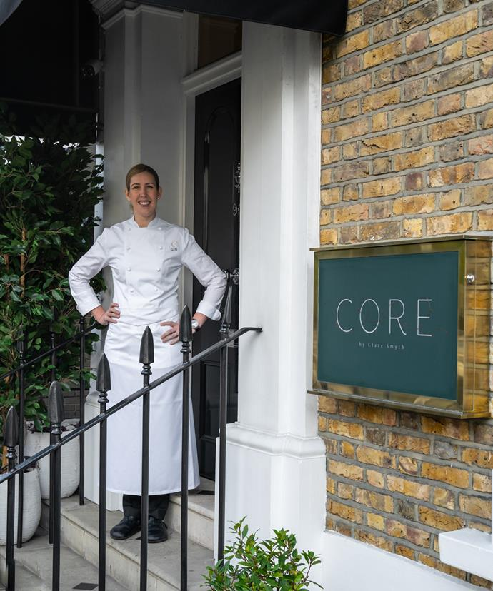 Clare Smyth outside her London restaurant Core.