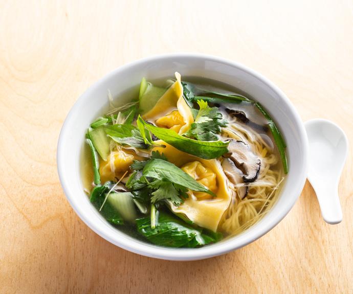 Prawn wonton and long noodle soup w Palisa's Asian herbs.