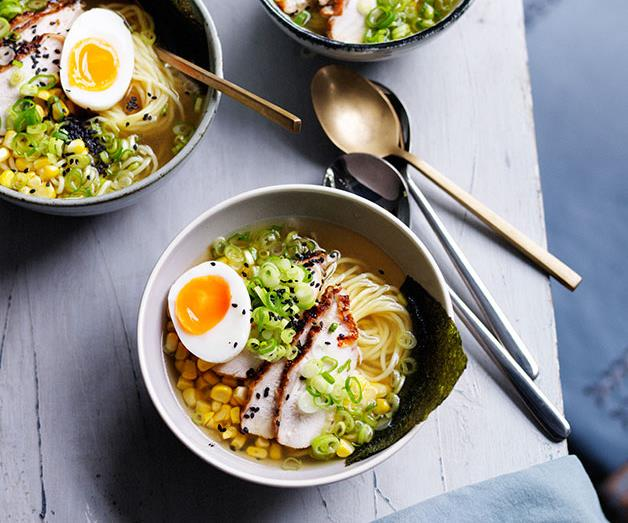 """**[Smoked chicken ramen with corn](https://www.gourmettraveller.com.au/recipes/browse-all/smoked-chicken-ramen-with-corn-11972 target=""""_blank"""" rel=""""nofollow"""")**"""