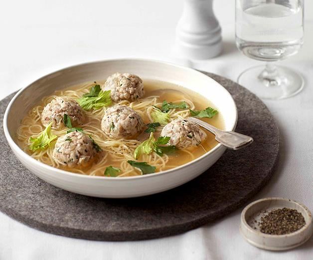 """**[Chicken meatball and noodle soup](https://www.gourmettraveller.com.au/recipes/browse-all/chicken-noodle-soup-8708 target=""""_blank"""")**"""
