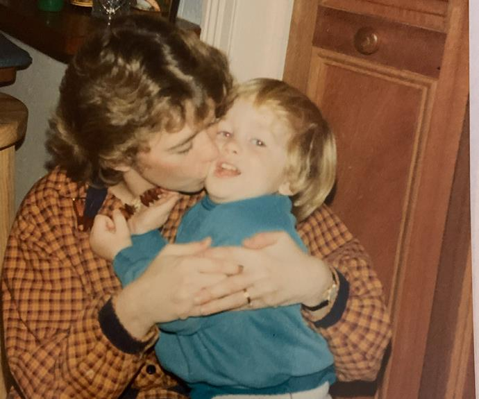 A young Mark Russell with his mother.