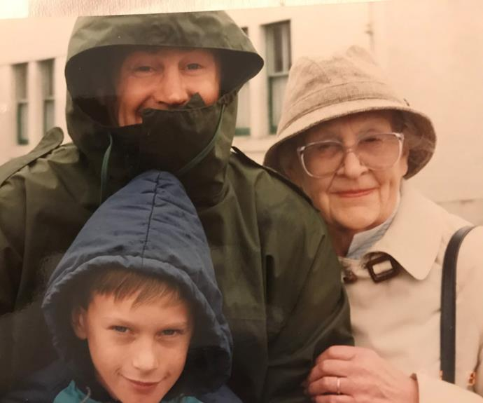 A young Rob Cockerill (in blue hooded jacket) with his grandmother Marj.