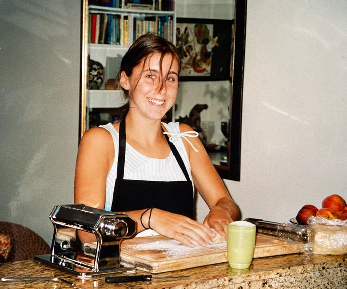 A young Jo Barrett at work with flour, eggs and water.