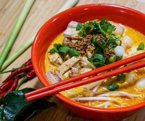 A bowl of Singapore laksa at Asian Pot in downtown Darwin.
