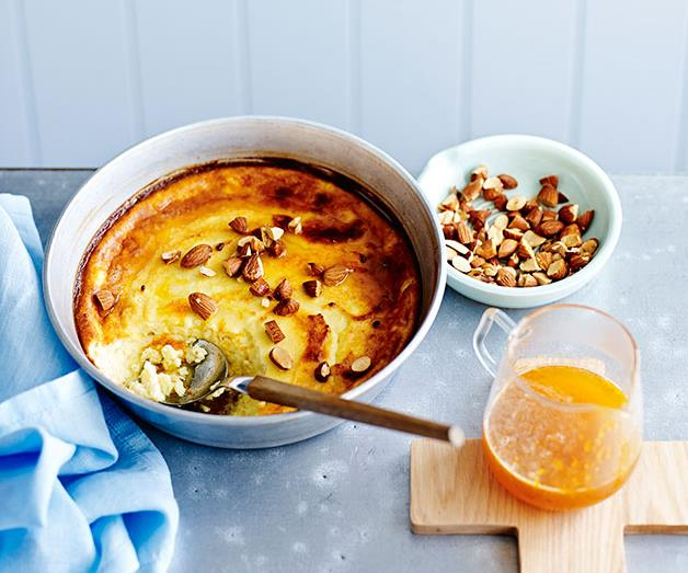 """**[Baked ricotta with honey, orange and almonds](https://www.gourmettraveller.com.au/recipes/fast-recipes/baked-ricotta-with-honey-orange-and-almonds-13539