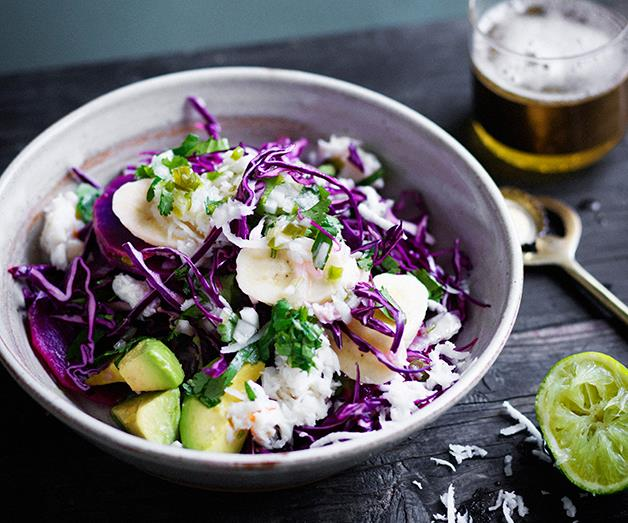 """**[Sweet potato, green banana and crab with coriander-jalapeño dressing](https://www.gourmettraveller.com.au/recipes/browse-all/sweet-potato-green-banana-and-crab-and-coriander-jalapeno-dressing-12709