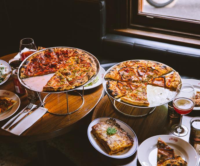 Pizzas at Leonardo's Pizza Palace.