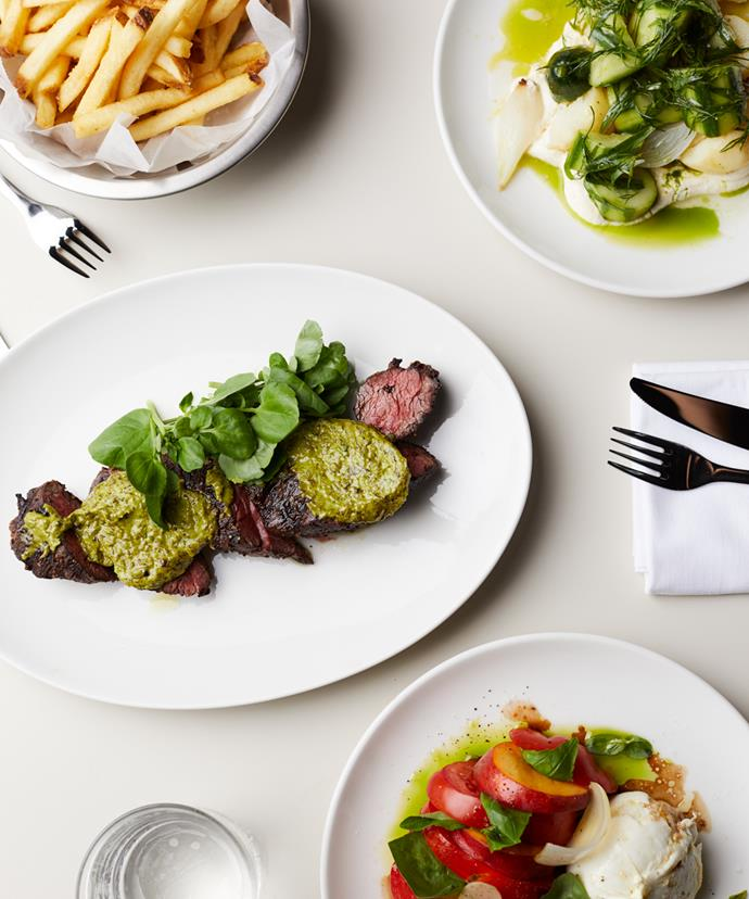 Clockwise from left: Cape Grim grass-fed bavette steak with frites; King Edward potato, cucumber, dill, salt baked white onion and soured cream; buffalo mozzarella, tomato, peach, pickled onion and aged balsamic.