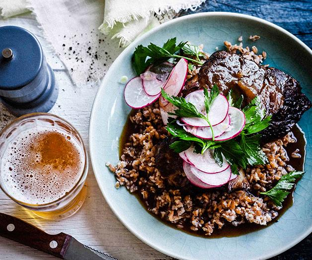"""[**Beer-glazed beef short ribs with farro salad**](https://www.gourmettraveller.com.au/recipes/browse-all/beer-glazed-beef-short-ribs-with-farro-salad-11572